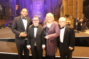Danny Smith and Richard Hunt at National Diversity Awards with Hollyaoks attress Annie Wallace& Festival founder Paul Sesay