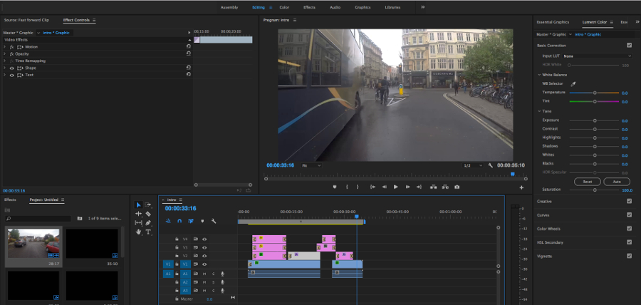 adobe premiere editing at Film Oxford